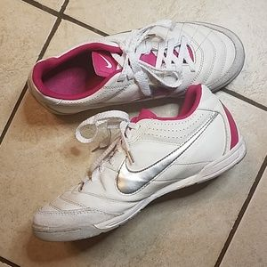 Nike Shoes - Nike Tiempo Hot Pink/Silver Indoor/Court Sneaks